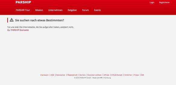 Screenshot der Parship 404-Fehlerseite